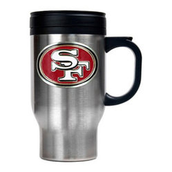 Great American Products - San Francisco 49ers NFL Stainless Steel Thermal Mug - This stainless steel thermal mug features thermal insulation to keep your beverage hot or cold. This is perfect for your Man Cave, Game Room, Office, or anywhere you want to show love for your favorite team. Decorated with a metal emblem.