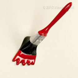 Antartidee - APPENNELLO - Paint Brush Hook by Antartidee - Quirky and fun paint brush wall hooks, handcrafted in Italy by Antartidee. The brush loved painting so much that it decided to hang around and double as a paint-brush-shaped hook. Or did the guy painting just fall asleep, or vanish, or become invisible?