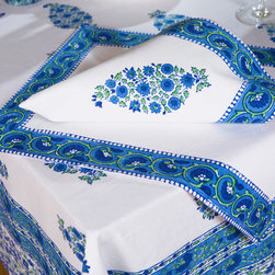 Blue Table Linens - Southern Nights table cover, a French Country style linen of classic cobalt blue and engaging emerald green on pure white. Hand Block Printed from Attiser