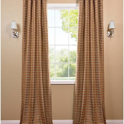 EFF - Mocha and Teal Striped Cotton Curtain Panel - These woven cotton panels add a casual and warm look to any window. Drapes are tailored from the finest hand-loomed cotton blend,finished in subtle colors.