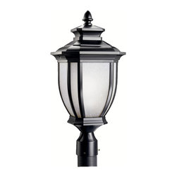 Kichler 1-Light Outdoor Fixture - Black Painted Exterior - One Light Outdoor Fixture. With an unmistakable British influence, this elegant post top fixture displays enduringly good-taste for exterior applications. A black finish with white-linen glass emits style and refinement for your home. 1-light, 150-w. Max. 10 sq. , Height 22. Post not included. UL listed for wet location.