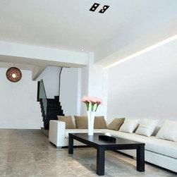 Ultra Slim TV Wall Mount in basement - SKU# TM520M - Modern Interior Space, Weisser walls make it minimal.