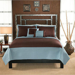 None - Barclay Cocoa and Aqua Hotel 3-piece Quilt Set - Enjoy a comfortable night's sleep with a new quilt set Bedding set includes one quilt and two pillow shams (one with twin) Quilt set features a quilted microfiber cover in a channel pattern