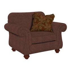 Broyhill - Broyhill Cierra Rust Brown Upholstered Chair with Cherry Wood Stain - Broyhill - Club Chairs - 34640Q - About This Product: