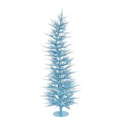 "Vickerman - Sky Blue Laser Tree 70BL 608T (4' x 19"") - 4' x 19"" Sky Blue Laser Tree 70 Blue Mini Lights 608 PVC tips, with metal base."