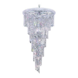 "PWG Lighting / Lighting By Pecaso - Adrienne 22-Light 30"" Crystal Chandelier 1531SR30C-SS - Offering elegant and timeless sophistication, the Adrienne Collection features stunning and exquisitely designed Crystal Chandeliers. Placing the large pieces in a multi-storied foyer and seen from below or outside creates an utterly, dazzling speckle of light."