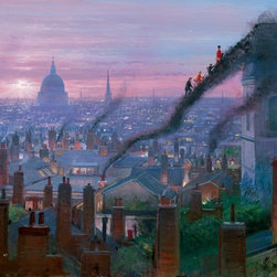 Disney Fine Art - Disney Fine Art Smoke Staircase by Peter Ellenshaw - Smoke Staircase by Disney Fine Art  -  Medium: Giclee on Canvas  -  Dimensions Height X Width: 24 x 36  -  Edition Size: 395  -  Hand Signed By The Artist: Peter Ellenshaw  -  Produced by Collector's Editions  -  Fully Authorized Disney Fine Art Dealer  -  Ships Rolled in a Tube  -  From The Walt Disney Motion Picture Mary Poppins