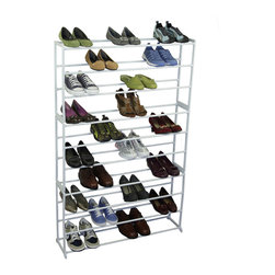 Richards Homewares - Richards Homewares White 50-pair Shoe Storage Rack - Take control of your messy closet or entryway with this ten-level shoe storage rack from Richards Homewares. This rack is designed to fit 50 pairs of shoes, and offers a durable steel construction.
