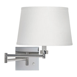 "Lamps Plus - Contemporary White Linen Drum Shade Chrome Plug-In Swing Arm Wall Lamp - This sophisticated swing arm wall lamp design looks great by your bedside or next to your favorite seating area. The plug-in base has a gleaming chrome finish for a sleek look. Easily attach the lamp to your wall and plug into any standard outlet using the conveniently provided cord. White linen shade. Chrome finish. Plug-in. Full range dimmer. Takes one 60 watt bulb (not included). 20"" maximum extension. Backplate is 5 1/2"" wide. Extends 1"" from the wall. Shade is 10"" across the top 12"" across the bottom 8"" high.  White linen shade.   Chrome finish.   Plug-in.   Full range dimmer.   Takes one 60 watt bulb (not included).   20"" maximum extension.   Backplate is 5 1/2"" wide.  Extends 1"" from the wall.  Shade is 10"" across the top 12"" across the bottom and 8"" high."