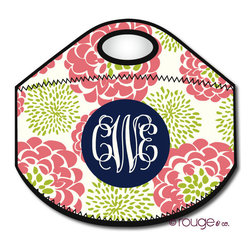 "Peony Print Monogrammed Lunch Cooler - Want to upgrade your plastic grocery bag lunch tote and get something you're not embarrassed to show at the office? Create your own cute lunch bag by choosing your favorite colors, pattern, and adding your name or initial. Another bonus about personalization? No grabbing the ""wrong"" lunch!  Each neoprene insulated tote measures 12"" x 10.5"" when flat."
