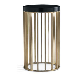 Baker Furniture - Brass Drink Table - In the spirit of the Bauhaus, this drink table balances high craft with up-to-the-minute design techniques.  Topped with a black lacquer finish, the entire base is solid brass, and every surface has a hand-rubbed finish.