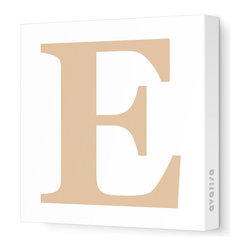 """Avalisa - Letter - Upper Case 'E' Stretched Wall Art, 18"""" x 18"""", Light Brown - Spell it out loud. These uppercase letters on stretched canvas would look wonderful in a nursery touting your little one's name, but don't stop there; they could work most anywhere in the home you'd like to add some playful text to the walls. Mix and match colors for a truly fun feel or stick to one color for a more uniform look."""