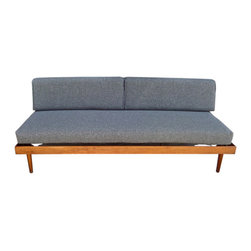 m[E] atelier - this is a very special piece of mid/century work. it was made by the group known as #TAC, the ARCHITECTS COLLABORATIVE, founded by #WalterGropius 1945. THIS SOFA/DAY/BED was purchased in 1964 in Cambridge. Crafted of solid walnut with fresh upholstery. $4800