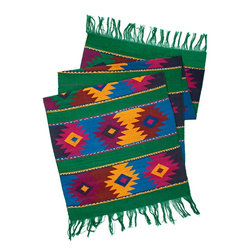 Mayan Table Runner in Green - From San Juan Comalapa, Guatemala, this table runner is hand woven using the ancient artisan technique of backstrap weaving. Featuring a striking Mayan design in tones of pink, yellow and blue on a green base. Each table runner is one of a kind and due to its handmade nature, color patterns and dimensions may vary slightly.