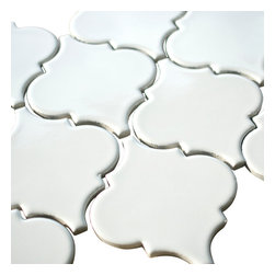 Stone & Co - Light White Porcelain Arabesque Mosaic Tile - Light white porcelain arabesque mosaic tile
