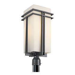 Kichler 1-Light Outdoor Fixture - Black Exterior - One Light Outdoor Fixture. From the Tremillo collection, this Kichler lighting outdoor post lantern light features a clean painted black finish that accentuates the clean lines and elongated shape. A stylish but soft satin etched cased opal glass shade completes the look. Meets energy star and title 24 requirements. Rated for wet locations.