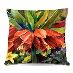 DiaNoche Designs - Pillow Woven Poplin - Fritillaria - Toss this decorative pillow on any bed, sofa or chair, and add personality to your chic and stylish decor. Lay your head against your new art and relax! Made of woven Poly-Poplin.  Includes a cushy supportive pillow insert, zipped inside. Dye Sublimation printing adheres the ink to the material for long life and durability. Double Sided Print, Machine Washable, Product may vary slightly from image.