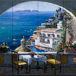 The Tile Mural Store (USA) - Tile Mural - Amalfi Window - Kitchen Backsplash Ideas - This beautiful artwork by Sam Park has been digitally reproduced for tiles and depicts a view of the Almalfi coastline through an arch.  Waterview tile murals are great as part of your kitchen backsplash tile project or your tub and shower surround bathroom tile project. Water view images on tiles such as tiles with beach scenes and Mediterranean scenes on tiles Tuscan tile scenes add a unique element to your tiling project and are a great kitchen backsplash idea. Use one or two of our landscape tile murals for a wall tile project in any room in your home for your wall tile project.