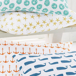 Mini-Print Percale Bedding - I absolutely love these graphic sheets. The little orange anchors would be perfect in a little boy's room or to add a preppy touch to a guest room.