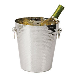 Tin-Pan Metal Ice Bucket - The unique pattern on this ice bucket is produced by a patient artist's hammer. A sophisticated serving bucket for your favorite wines.