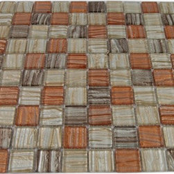 """GlassTileStore - Terrene Mercury Blend 1x1 Glass Tiles - Terrene Mercury Blend Squares Glass Tiles             This striking blend of metallic beige, brown, and peach can make any room aesthetically appealing. The wavy finish with the textured background brings a distinctive design and will add a nice touch for a contemporary and modern room. This tile is great to use for the bathroom, kitchen or pool installation.         Chip Size: 1"""" x 1""""   Color: Metallic Beige, Brown and Peach   Material: Glass   Finish: Wavy Polished   Sold by the Sheet - each sheet measures 11 1/4"""" x 11 1/4"""" (0.88sq. ft.)   Thickness: 6mm   Please note each lot will vary from the next.            - Glass Tile -"""