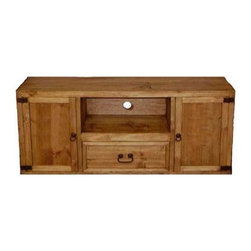 Million Dollar Rustic - TV Console w Drawer - One drawer. Two storage with doors at both sides. Warranty: One year. Made from white pine. Center piece opening: 27 in. W x 13 in. D x 10 in. H. Overall: 51 in. W x 13.5 in. D x 24 in. H (45 lbs.)Works great as a stand alone unit for smaller flat screen TV's.