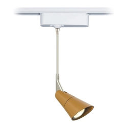 """Tech Lighting - Scania Sienna 6"""" Tech Pendant for Lightolier Track Systems - The Scania is a clean European-inspired pendant head that features a painted burnt sienna finish. The head rotates 360 degrees and pivots 180 degrees to direct the beam. Includes snap louver lens holder which holds a single lens or louver (sold separately). Included track adapter lets you connect this pendant to Lightolier track lighting systems. Includes a built-in 12 volt transformer that's concealed in the white finish housing. Made by Tech Lighting for use with Lightolier line voltage track systems. Burnt sienna finish. Fully adjustable head. White finish adapter housing. For use with Lightolier line voltage track systems. Built-in 12V transformer. Takes one 50 watt MR16 halogen bulb (not included). Hangs 6"""" high. Head is 4 3/4"""" long. Adapter is 6"""" wide 1 3/4"""" high.  For use with Lightolier track systems.  Burnt sienna finish.   Fully adjustable head.   White finish adapter housing.   Built-in 12V transformer.   Takes one 50 watt MR16 halogen bulb (not included).   Hangs 6"""" high.   Head is 4 3/4"""" long.   Adapter is 6"""" wide 1 3/4"""" high."""