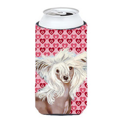 Caroline's Treasures - Chinese Crested Hearts Love Valentine's Day Portrait Tall Boy Koozie Hugger - Chinese Crested Hearts Love and Valentine's Day Portrait Tall Boy Koozie Hugger Fits 22 oz. to 24 oz. cans or pint bottles. Great collapsible koozie for Energy Drinks or large Iced Tea beverages. Great to keep track of your beverage and add a bit of flair to a gathering. Match with one of the insulated coolers or coasters for a nice gift pack. Wash the hugger in your dishwasher or clothes washer. Design will not come off.