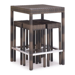 ZUO VIVA - Cinto Bar Set Brown - The Cinto Bar Set has a epoxy coated steel frame with a synthetic weave wrap with polyblend seat cushions.