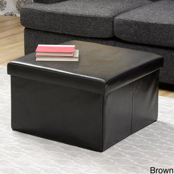 None - Folding Storage Coffee Table - Made from 100 percent faux leather and featuring a hardwood frame,this folding coffee table can hold objects up to 250 pounds,aside from having ample space to keep other things inside. This piece is available in black and dark brown.