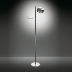 Artemide - Reall Floor Lamp by Artemide - Reall Floor Lamp by Artemide. Reall is a LED unit made of recycled aluminium available in the floor, table and ceiling/wall versions. Visual lightness and thermodynamics are the main characteristics of this project: the head, made of die-cast aluminium, is appropriately shaped and perforated to form a permeable visual interface for the space where it is placed and facilitates heat exchange, guaranteeing optimum dissipation of the heat produced by the light source; it rotates on two axes and moves vertically on its stem, allowing users to interact with the device and to determine easily the light most suited to your needs.