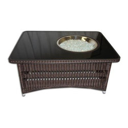 Outdoor Great Room - Naples Coffee Table with Balsam Wicker Base & Black Glass Center Top - Outdoor Rated Resin Wicker