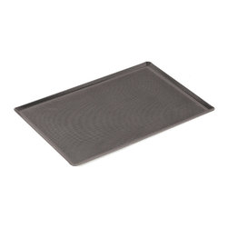 Paderno World Cuisine - 25 1/2 in. by 20 7/8 in. Perforated Silicone Coated Baking Sheet - This 25 1/2 long by 20 7/8 wide perforated silicone coated baking sheet has 1/8 in.  (3mm) perforations allowing for greater and more even contact with the heat of the oven. This is perfect for baking breads and for use in conjunction with the silicone baking mat. The perforations account for 50% of the total surface of the sheet. It is made of non-stick silicone and has shallow, flared edges.