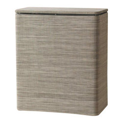 Lamont Home - Cambria Upright Hamper Sage/Brown - Made from high quality PVC/Polyester fabric, these traditional styles have been updated in a wide range of patterns to match any decor. A vinyl lid with metal grommet completes the look for the hamper. A very durable product that adds style to any laundry room.