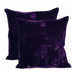 None - Purple Velvet Feather and Down Filled Throw Pillows (Set of 2) - Royal purple velvet throw pillows will be the gem of any traditional or contemporary room. Build your color scheme around the dramatic color or let it present the perfect accent. Comes with machine washable covers with a duck feathers and down insert.