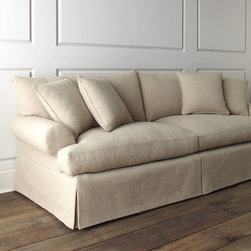 """Horchow - """"Keystone"""" Sofa - NATURAL - """"Keystone"""" SofaDetailsOverstuffed sofa with dressmaker-style skirt invites you to snuggle in and stay awhile. Its neutral coloration lets it blend well with a variety of decorating styles.Handcrafted engineered hardwood frame with cotton/polyester/acrylic upholstery.Feather/down filled seat cushions and decorative pillows.Mortise-and-tenon frame construction; sinuous-spring seat construction.99""""W x 40""""D x 38""""T.Made in the USA.Boxed weight approximately 165 lbs. Please note that this item may require additional delivery and processing charges."""