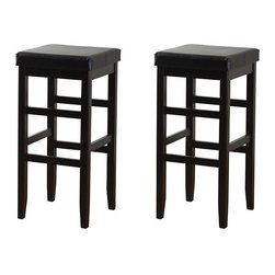 Jensen - Hutto 30-inch Square Bar Stools (Set of 2) - Place these padded bar stools anywhere you need comfortable, counter-height seating. The solid wood stools are topped by square seats, which are upholstered in black vinyl. Floor glides allow the stools to slide without damaging floors.
