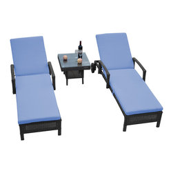 "Reef Rattan - Reef Rattan 3 Piece Islander Chaise Lounger Set Grey Rattan / Blue Cushions - Reef Rattan 3 Piece Islander Chaise Lounger Set Grey Rattan / Blue Cushions. This patio set is made from all-weather resin wicker and produced to fulfill your needs for high quality. The resin wicker in this patio set won't fade, shrink, lose its strength, or snap. UV resistant and water resistant, this patio set is durable and easy to maintain. A rust-free powder-coated aluminum frame provides strength to withstand years of use. Sunbrella fabrics on patio furniture lends you the sophistication of a five star hotel, right in your outdoor living space, featuring industry leading Sunbrella fabrics. Designed to reflect that ultra-chic look, and with superior resistance to the elements in a variety of climates, the series stands for comfort, class, and constancy. Recreating the poolside high end feel of an upmarket hotel for outdoor living in a residence or commercial space is easy with this patio furniture. After all, you want a set of patio furniture that's going to look great, and do so for the long-term. The canvas-like fabrics which are designed by Sunbrella utilize the latest synthetic fiber technology are engineered to resist stains and UV fading. This is patio furniture that is made to endure, along with the classic look they represent. When you're creating a comfortable and stylish outdoor room, you're looking for the best quality at a price that makes sense. Resin wicker looks like natural wicker but is made of synthetic polyethylene fiber. Resin wicker is durable & easy to maintain and resistant against the elements. UV Resistant Wicker. Welded aluminum frame is nearly in-destructible and rust free. Stain resistant sunbrella cushions are double-stitched for strength and are fully machine washable. Removable covers made with commercial grade zippers. Tables include tempered glass top. 5 year warranty on this product. Chaise Lounger (2): W 29"" D 78"" H 10"", Coffee Table: W 20"" D 18"" H 10"""