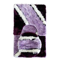Rug - Lavender Plush Bathroom Mat 3-PC-Set, 100% Polyester Hand-tufted - Brighten your Home Bathroom with these unique High Quality Mats that add comfort softness underfoot. High-Traction floor mats are designed to prevent the mat from slipping out from under your foot, providing a safer transition step onto the mat. Design for incredible comfort with Vibrant colors that won't fade wash after wash. Step out of your tub or shower on to the luxurious comfort of this unique bath mat. Our plush and ultra soft bath mat is super soft and absorbs water twice as fast as other materials, making it extra gentle and ultra absorbent.
