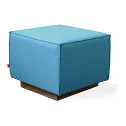 Gus Modern - Gus Modern Kipling Ottoman in Muskoka Surf - It's hip to be square! This handsome ottoman is an ideal accent for you favorite modern setting. Not just cool-looking, courtesy of French seams and the recessed walnut base, it's built to last and maintain its structured shape.