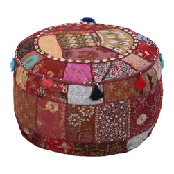 Tasseled Patchwork Pouf - We're obsessed with soft ottomans and poufs. They invite a sense of coziness when you're gathered around with friends and family and offer an easy way to create additional seating. Made from 100% cotton fabric, this pouf will add a playful sophistication to any décor with its delicate detailing, exuberant tassels, and rich colors.