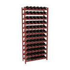 72 Bottle Stackable Wine Rack in Pine with Cherry Stain - Four kits of wine racks for sale prices less than three of our 18 bottle Stackables! This rack gives you the ability to store 6 full cases of wine in one spot. Strong wooden dowels allow you to add more units as you need them. These DIY wine racks are perfect for young collections and expert connoisseurs.