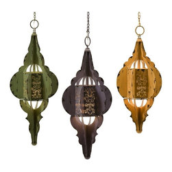 iMax - Georgette Hanging Lamps, Set of 3 - Moroccan inspired, georgette hanging lamps, showcased in blue, yellow, and green.