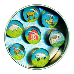 """Farm Glass Gem Magnet Set - Handmade in our studio, each of our glass gem magnets starts with a tiny drawing or watercolor painting which is reproduced, and then sealed under glass. We use super strong ceramic magnets, so they're not only cute, they're functional. Each magnet is about 3/4 inch wide, the tin is 2.75"""" wide. Set of 7 in a tin. Made in the USA. 3/4"""" wide. Set of 7 in a tin."""