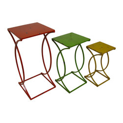 Zeckos - Set of 3 Distressed Finish Metal Nesting Side Tables - Perfect for the porch, patio, pool or indoors, this set of metal nesting tables adds a colorful accent. They're great for displaying plants and statues, or for use next to your favorite chair to hold drinks, snacks and your favorite book. You can arrange the tables in a variety of ways, making an attractive display in any room, and each square topped table features a distressed enamel finish. The red largest table measures 27.5 X 13 X 13 inches, the green medium table is 22.5 X 11 X 11 inches and the smallest yellow table stands 17.5 X 9 X 9 inches. This set makes a fun housewarming gift that's sure to be appreciated!