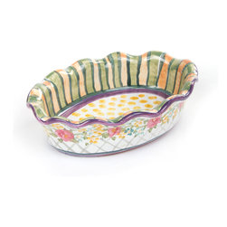 Farmhouse Mini Au Gratin | MacKenzie-Childs - Farmhouse is a new adaptation of our classic Taylor dinnerware. These delightful pieces are designed to go directly from oven to table. Each Farmhouse Mini Au Gratin is a bake-in serving dish guaranteed to bring warmth and sparkle to any meal. We have definitely put an end to the days of the boring serving dish!