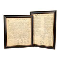 Patriot Gear Company - Framed Constitution & Declaration of Independence Set - The United States Constitution and the Declaration of Independence are the two greatest documents ever penned in human history.  The U.S. Constitution was written principally by James Madison, and it is the oldest written constitution still used by any nation. It serves as the framework for the organization of the United States government and for the relationship of the federal government with the states, citizens, and all people within the United States.   The Declaration of Independence was adopted by the Continental Congress on July 4, 1776. It announced that the thirteen American colonies, then at war with Great Britain, were now independent states and thus no longer a part of the British Empire. Written primarily by Thomas Jefferson, the Declaration is a formal explanation of why Congress had voted on July 2 to declare independence from Great Britain, more than a year after the outbreak of the American Revolutionary War. The birthday of the United States of America—Independence Day—is celebrated on July 4, the day the wording of the Declaration was approved by Congress.