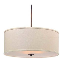 Bronze Drum Pendant Light with Cream Linen Shade -