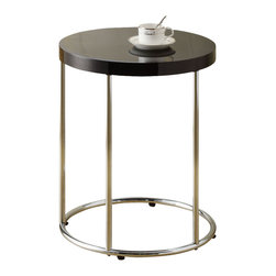 Monarch Specialties - Monarch Specialties 3006 Round Accent Table in Chrome and Glossy Black - To have or not to have just isn't an option! This handy glossy black finished accent table offers individuals a simple yet favorable way for placing drinks, snacks or meals while watching TV or chatting on the sofa. Its sturdy yet fashionable chrome metal base and a glossy black finished top provide exceptional support to this must-have piece!