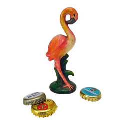 EttansPalace - Pink Flamingo Cast Iron Bottle Opener: Set of Two - Pretty in pink, our flamingo sets the stage as a timelessly stylish antique replica sure to open soda and beer bottles with vintage panache! Hand-crafted exclusively for using the time-honored sand cast method, this antique replica cast iron bottle opener, free-standing Pink Flamingo figurine is hand-painted to capture vintage retro kitsch details from its curved beak to the tall grass that disguises its clever bottle opener.
